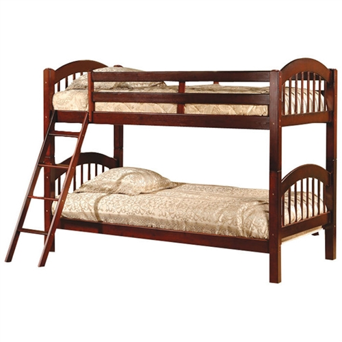 Get most out of shared bedroom without taking up precious floor space with this Twin over Twin Bunk Bed with Arch Headboard Footboard in Cherry. The bunk bed has a solid wood construction, which makes it sturdy and long lasting. The simple arched design adds a classic touch to your decor. The Twin over Twin Bunk Bed with Arch Headboard Footboard in Cherry can be separated into two standard twin beds and used independently. It features slats that enable you to place your mattress directly on the sturdy wood slats. The stylish bunk bed is available in multiple finishes. It has guardrails for added safety and integrated ladder. It is non-toxic and complies with standard consumer safety specifications for bunk beds. The twin bunk bed is ISTA 3A certified, which ensures optimum safety for the product during transit. Material: Pine wood; Ladder of this bunk bed is attached with screws; 1 Year warranty; Frame Material: Wood; Guardrail(s) Included: Yes; CPSIA or CPSC Compliant: Yes; Slat System Included; Number of Slats Included: 12; Ladder Included; Ladder Location: Right side facing.
