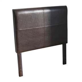 This Twin size Brown Faux Leather Upholstered Headboard would be a great addition to your home. It has a solid wood construction and is filled with foam material. Upholstered: Yes; Hardware Material: Wood; Drill Holes for Frame: Yes; Upholstery Material: Faux leather; Upholstery Fill Material: Foam.