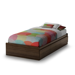 This Twin size Platform Bed with 3 Storage Drawers in Mocha features 3 convenient drawers for additional storage in the bedroom. They open easily, without handles, thanks to the indentation at the bottom. This bed is a value-conscious choice since it does not require a box spring. This bed is reversible, therefore, the drawers can go on either side. The interior drawer dimensions are 22-1/2-inch wide by 14-1/4-inch front to back and equipped with metal slides; Manufactured from certified Environmentally Preferred laminated particle panels; Complete assembly required by 2 adults; Tools are not included; 5-year limited warranty; Made in Canada.