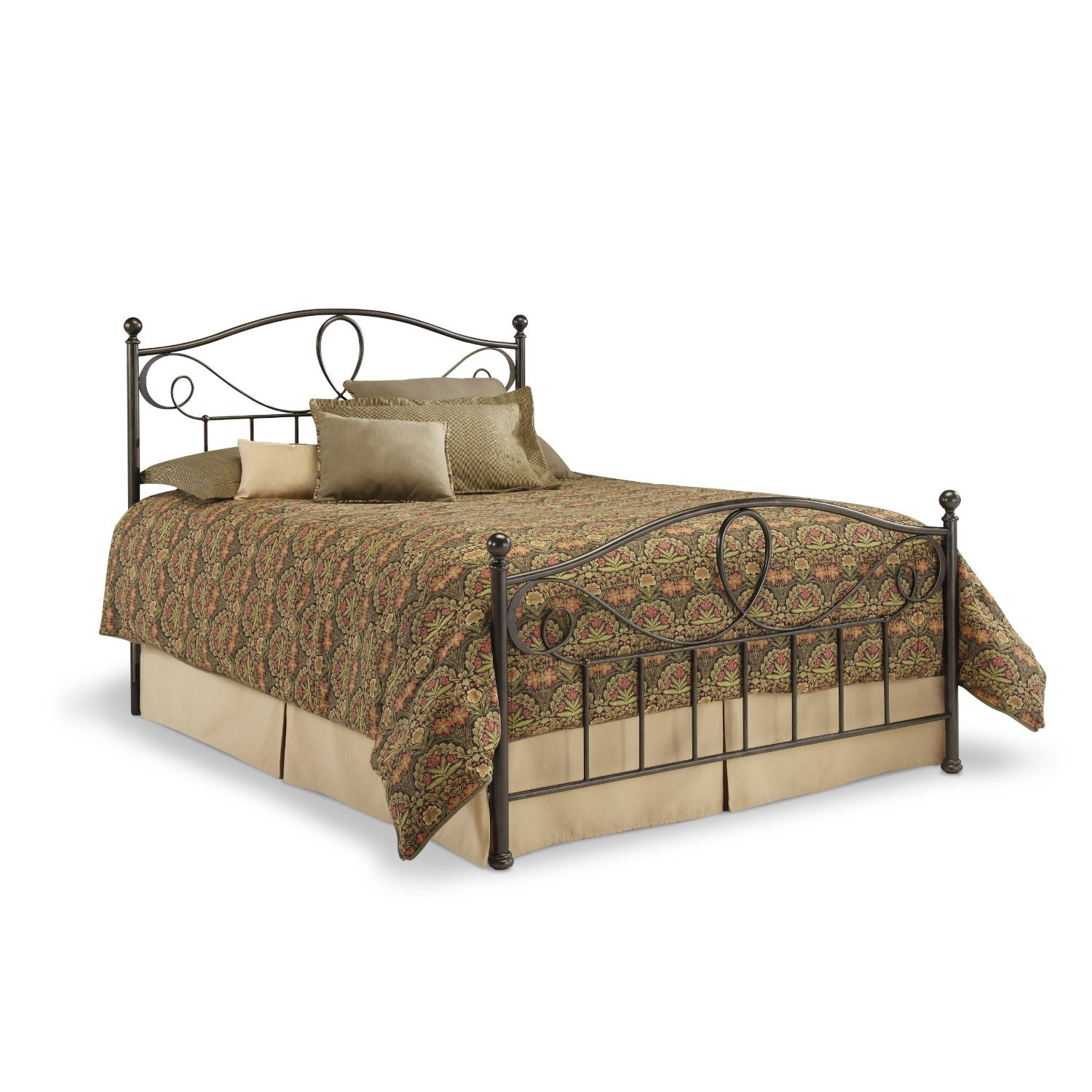 Queen size Metal Bed Frame with Headboard and Footboard in French Roast Finish, SFRBQ22336 :  For anyone who wants an eye-catching headboard and footboard, this Queen size Metal Bed Frame with Headboard and Footboard in French Roast Finish is for you. with a dynamic design featuring a standard-looking grill beneath an elegant pattern of curves, twists and provocative shapes, this metal bed with a french roast finish has some attitude. thick, strong finials sit atop stout posts to make the sylvania bed a combination of sturdy ruggedness and finesse design. this is a bed that is sure to garner attention.