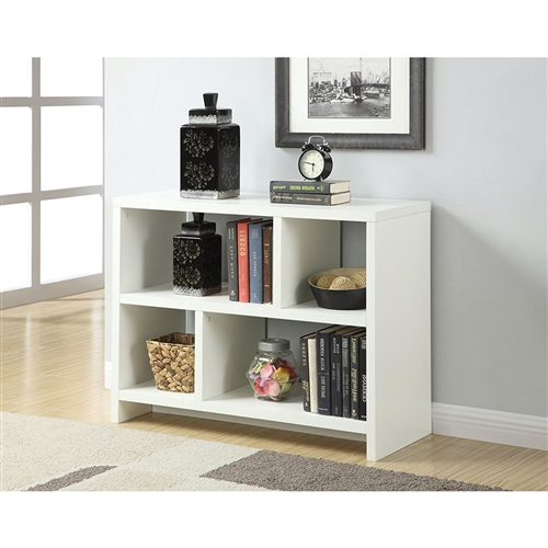 The modern design of this White 2-Shelf Modern Bookcase Console Table will complete the look of the contemporary home. This White 2-Shelf Modern Bookcase Console Table is perfect for storage and display.