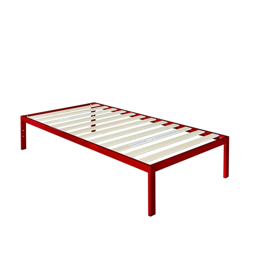 This Twin size 14-inch High Platform Bed with Red Metal Frame and Wood Slats features wooden slats that provide strong support for your memory foam, latex, or spring mattress. 14 inches high with 12 inches of clearance under the frame for plenty of under bed storage space. Openings in two of the legs allow for attaching a headboard to this platform bed. The modern Studio platform bed 1500 provides stylish and strong support for your mattress.