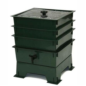 3-Tray Worm Composter - Worm Compost Factory in Green, WF3TWCDG7995 :  This 3-Tray Worm Composter - Worm Compost Factory in Green is an incredibly efficient way to convert kitchen scraps, junk mail and cardboard into nutrient-rich compost for your garden. Master gardeners agree that compost produced by worms will produce the best results and help your plants thrive. The Worm Factory's unique stackable, multi-tray design makes it the most efficient worm bin composter around. Worms begin eating waste in the lowest tray, and then migrate upward as food sources in that tray are exhausted. By allowing worms to migrate upward, the worms separate themselves from the finished compost that is ready for the garden. Besides the worm castings that are produced through this process, the Worm Factory also produces a second type of compost. As waste is broken down, moisture filters through your Worm Factory, taking nutrient-rich particles with it. This liquid fertilizer, know as leachate is gathered in the special collection tray of the Worm Factory and can easily be drained from the spigot. Simply add a handful of worms and your organic waste to the bottom tray. The worms will start processing the food. Once the bottom tray is filled add another tray. The worms migrate upward to the newest food source leaving the bottom tray full of nutrient rich compost. As waste is broken down, moisture filters through the system taking nutrient-rich particles with it. You can drain organic liquid fertilizer right from the spigot. It's compact square design gives the Worm Factory the smallest footprint of all worm composters. The Worm Factory's tray stacking system allows it to hold the largest capacity of compost in the smallest amount of space, making it the perfect composter for anyone with space limitations. The Worm Factory is simple to operate. When full, each tray weighs only 12.5 pounds making lifting and arranging trays effortless. The included 16-page instruction manual makes setup fa