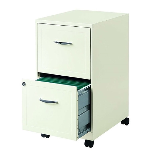 "Pearl White 2-Drawer File cabinet with Casters. Size: Letter. Number of Drawers: 2. Smooth glide suspension. Lock secures both drawers. Contains 30% total recycled materials. Full high-side drawers provide storage for other office essentials. Made in the USA. 26.5"" H x 14.25"" W x 18"" D, 20 lbs. Includes: Includes casters for optional mobility. Color/Finish: Color: Pearl white."