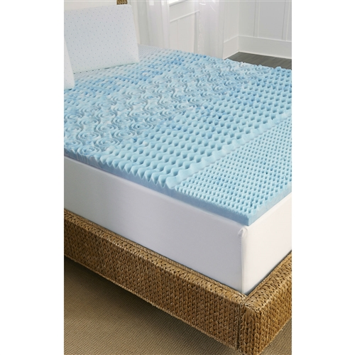 "This Full size 1.5-inch Thick Blue Memory Foam Mattress Topper with Zone Support offers both the benefits of memory foam with the cooling properties of gel in this unique and functional mattress topper. Unlike many ""cooling"" memory foam products using regular cooling ""gel-beads"" that can separate and cause a mess, Full size 1.5-inch Thick Blue Memory Foam Mattress Topper with Zone Support marbleized infusion of cooling gel liquid into the memory foam means the cooling properties of the gel foam are spread more evenly and thoroughly throughout the topper to better help regulate the temperature of this topper while you sleep - that means that if you have a tendency to get very hot while sleeping, you can experience a cooler, more inviting sleep thanks to the temperature regulating marbleized gel infusion. Tempure Rest specially designed 5-Zone support patterns are molded right into the memory foam to help reduce pressure points that cause tossing and turning - head, shoulders, back, legs and feet – giving more support at higher compression levels so you get support precisely where it is needed. In addition, the topper is also ventilated to allow air flow and further help regulate heat build-up during sleep. Memory foam is sensitive to body temperature and changes shapes as you move to provide responsive support all night long for better sleep. This topper can be placed right on top of your existing mattress and never needs turning. Hypoallergenic and easy care - spot clean only. Does not include cover. After unpacking, allow 24 hours for the topper to regain its loft."