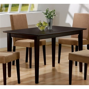 This Casual Rectangular Dining Table in Dark Brown Cappuccino Wood Finish would be a great addition to your home. It has a casual style and a dark cappuccino finish.