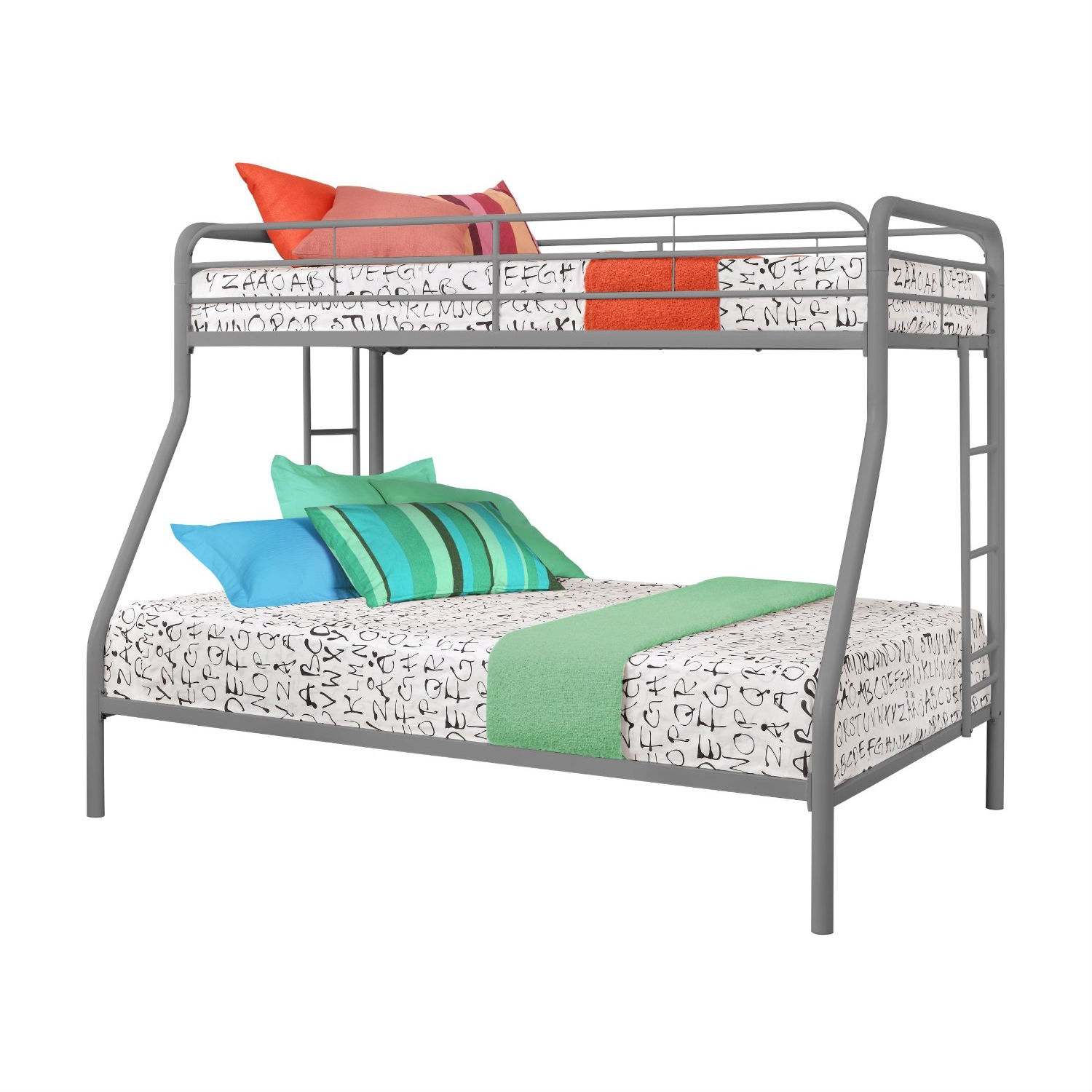 Twin over Full size Sturdy Metal Bunk Bed in Silver Finish, DSTFB1981 :     This Twin over Full size Sturdy Metal Bunk Bed in Silver Finish has a twin bed on the top with a full size bottom bunk bed. It is a great sleeping solution if one child is three to five years older than the other child or if one sibling needs more room.