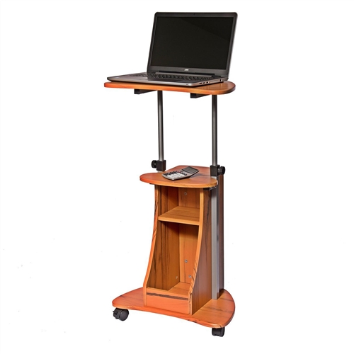 This Mobile Sit Down Stand Up Desk Adjustable Height Laptop Cart in Wood-grain Finish is made of MDF wood panels with a moisture resistant PVC laminate veneer and a scratch-resistant powder-coated steel frame. You can easily adjust the table height between 28 and 43 inches with dual adjustment knobs. The open storage compartment features an accessory shelf. Two of the fours non-marking nylon casters include locking mechanisms. The table, top, accessory, and bottom shelves each have a 22 lb weight capacity.