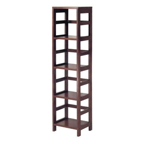 Narrow 4-Shelf Contemporary Shelving Unit in Espresso Wood Finish, WS3SU34911 :  This Narrow 4-Shelf Contemporary Shelving Unit in Espresso Wood Finish features a tall profile framed by the line's signature open ladder-style sides and back. The solid/composite-wood construction provides strength and durability, while the rich Espresso finish adds a warm yet modern feel. Matching wicker storage baskets with wire frames are sold separately. Other unit sizes include the two-shelf narrow, two-shelf wide, and three-shelf wide. This version measures 13.5 inches wide by 11.2 inches deep by 55 inches high. Ladder-style frame and rectangular shelves; Modular series also includes 2-shelf narrow, 2-shelf wide, and 3-shelf wide sizes.