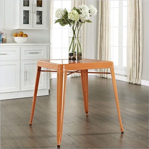 Originally made famous in the quaint bistros of France, these Mid Century French Cafe Style Metal Dining Table in Orange will offer a dose of nostalgia combined with careful consideration for your wallet. This inspired revival evokes a sense of a true vintage find.