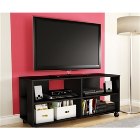 "This Black TV Stand Storage Cart in Black Finish - Holds TV up to 48-inch is a versatile, flexible storage unit on casters that works as a combination TV stand/storage piece. The four open spaces make it ideal for putting away electronics as well as everyday items. Because of the casters, this unit is easy to move around and therefore practical and functional, no matter how it's used. The straight lines and trendy design make for a contemporary style that will go nicely with the other furniture in the room. Open storage spaces separated by fixed shelves, perfect for electronic devices and everyday items; Cut out hole in the back panel which allows for easy wire management; Back surface is not laminated; Storage unit on casters; Accommodates LCD and plasma televisions up to 48""."