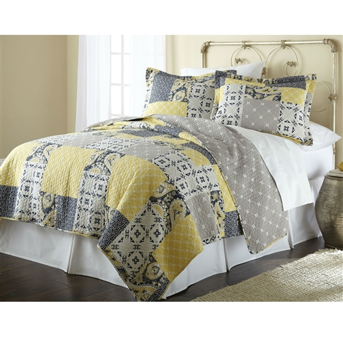 Crafted of quality cotton, this quilt set is soft and comfortable. The yellow and grey colors are sure to accent your decor. Pattern: Patchwork; Gender: Unisex; Life Stage: Adult; Reversible: Yes; Textured: No; Cleaning Method: Machine washable.