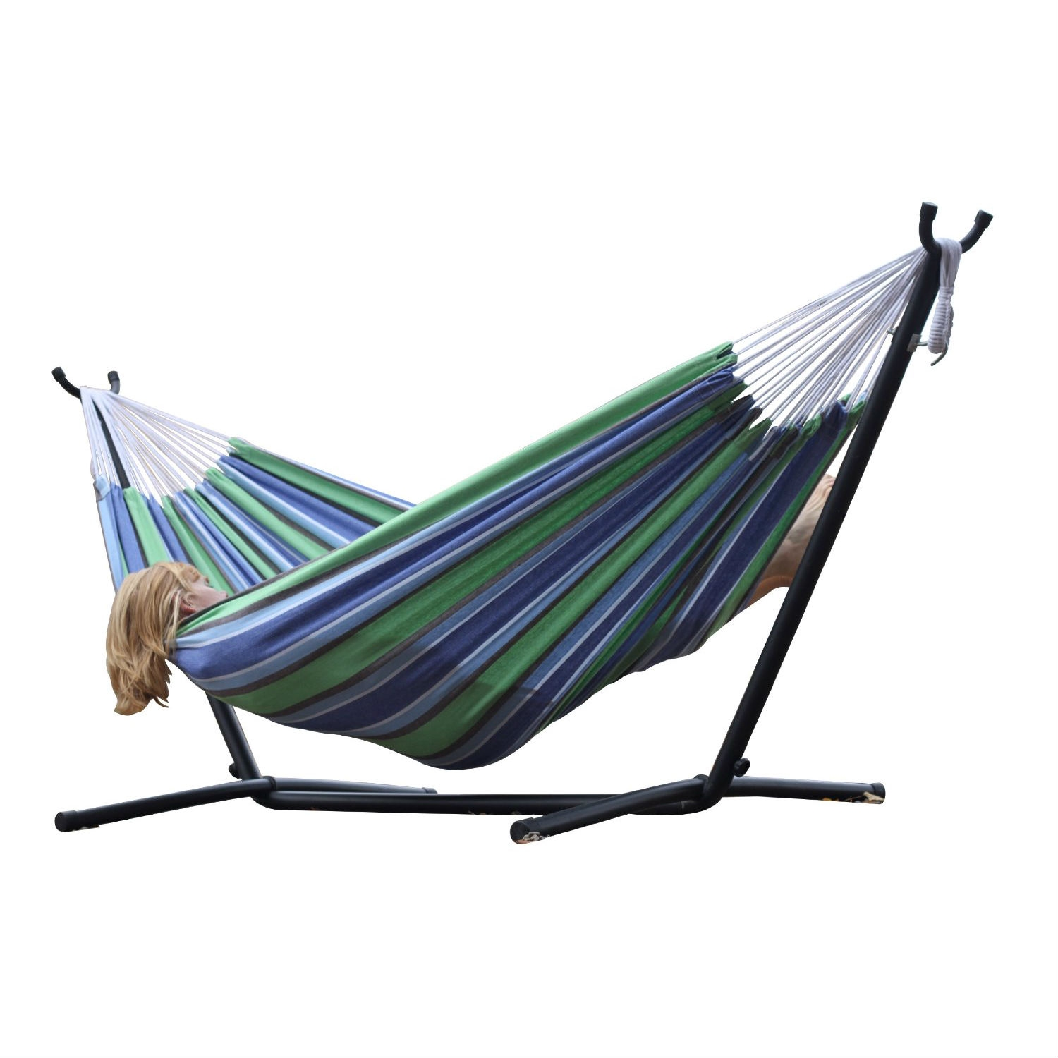 Oasis Blue Green Stripes Hammock with Steel Hammock Stand, VOHS13106 :  A top choice for couples lounging, this Oasis Blue Green Stripes Hammock with Steel Hammock Stand comes with a space-saving steel stand and a double hammock in your choice of cotton or Sunbrella fabric. You'll enjoy the freedom that the space-saving 9-foot stand provides by allowing you to set up your hammock in the most convenient location -- no longer having rely on tying your hammock to two trees. And both the Sunbrella and cotton hammocks accommodate two adults. The well-designed heavy duty steel stand gives you a sense of security to enjoy your slumber, and it's ideal for this non-spreader bar style of hammock. Created for long life and stability, it's made from heavy gauge steel and it easily assembles in minutes -- no tools required. Weighing in at a total of 35 pounds, this entire hammock combo can be easily maneuvered around your backyard or patio. Powder coated in an oil rubbed bronze finish, the stand measures 9 feet in length and all ends are finished with plastic caps. It's also easy to break down for storage or travel, and it comes with its own carrying case.