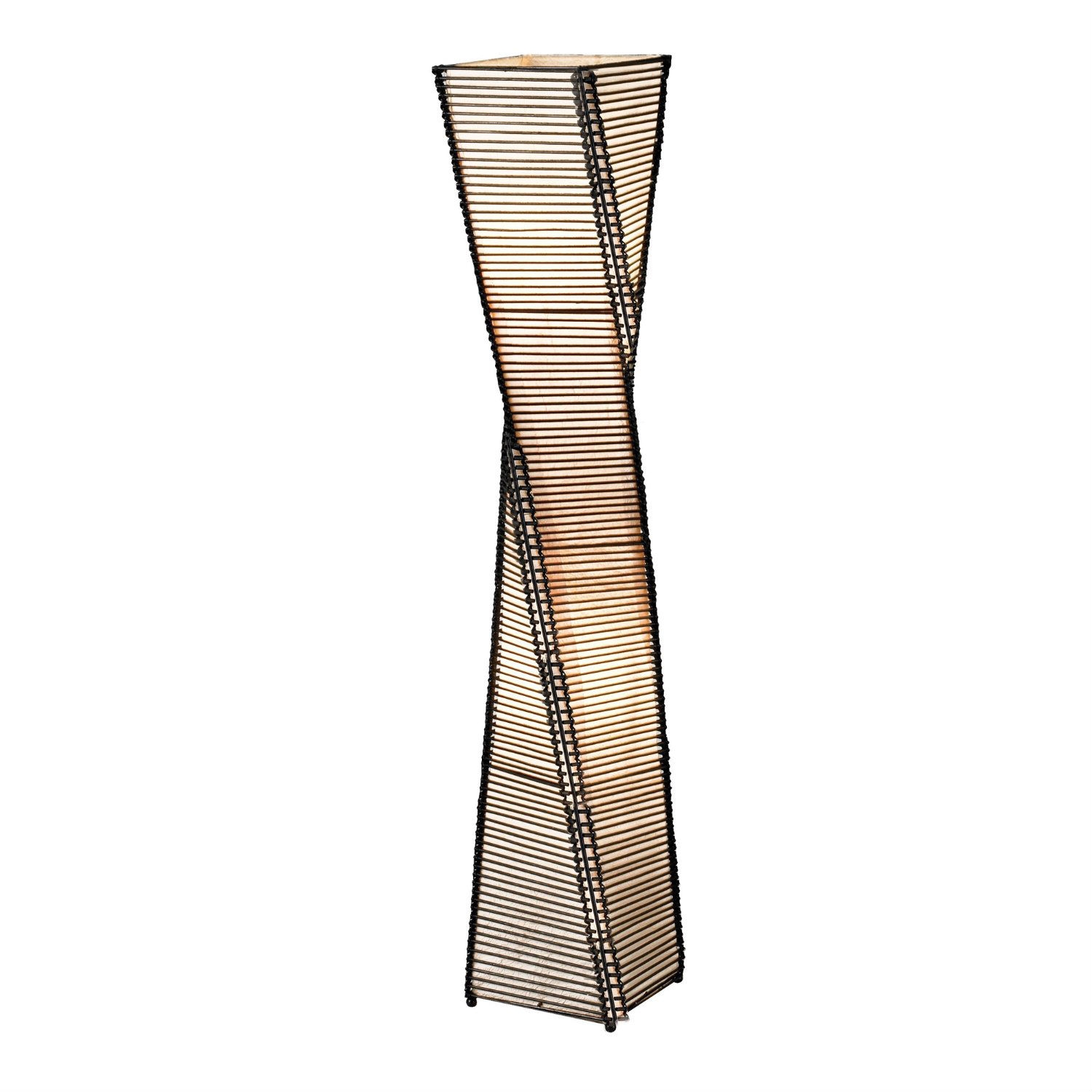 "Modern Twist Sculpture Style Floor Lamp Lantern with Beige Shade, ATBMF1064 :  The frame of each Modern Twist Sculpture Style Floor Lamp Lantern with Beige Shade is a twisting black metal tower. On either side of each corner a thin vertical cane rod is connected to the frame top and bottom. Thin black cane sticks are stacked and woven on each end to those vertical rods, resulting in the appearance of a stick tower. The share are lined with a fabric-like beige paper. Has ball feet at corners. Foot step switch. Takes 2x60 Watt. 50"" Height, 9"" Square."