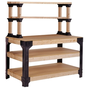 Workbench Shelving Unit Potting Bench Storage System - 2x4 Lumber Not Included, B2X4PB851981 :  Add your own lumber to make up to a 8 foot by 4 foot by 36 inch workbench. No miter cuts are required. The kit includes 4 workbench legs, 6 shelflinks, and assembly hardware. The sturdy 2 by 4 framing and advanced engineering makes the workbench stronger and more stable than other workbench kits. Each shelf will hold up to 1000 pounds. 6 strong shelf links are included in this kit. Shelf links can support spans up to 8 feet and up to 1000 pounds. Lumber not included.