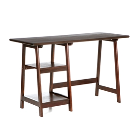 Crafted with simplicity in mind, this Espresso Finish Wood Home Office Laptop Computer Desk has a stylistic expression all its own. The top is dressed with an exquisite veneer that is full of wonderful grain and character. The frame is built with durable hardwood legs in an A-frame shape. The left side of the desk features two sturdy shelves for decoration and accessories. The desk measures 29 inches tall by 47 inches wide by 20 inches deep, with the sitting area 24 inches wide. Perfect for home office, entry, or living room this rich desk is sure to bring compliments.