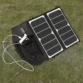 "14-Watt Folding Solar Panel Charger for Smartphone iPhone Galaxy and More, PCG6945124 :  Unfold this 14-Watt Folding Solar Panel Charger for Smartphone iPhone Galaxy and More under DIRECT sunshine, connect your device to the USB port, then place the connected device in the solar panel's pocket or keep it out of the sunshine to protect it. The only minus of free sunlight is not stable, solar panel powered by unstable sunlight leads to unstable current and voltage, which will shorten your device's life or even damage it. Poweradd solar panel's voltage regulator keeps your device getting stable voltage and current, perfectly protect it while charging. Amazing Efficiency: Constructed of SUNPOWER® solar arrays, up to 22% efficiency provides 2A output (MAX), easier and faster to replenish juice for your hungry gadgets; Lightest weight and ultra compact: only the half weight of other normal 14W solar panels on the market - 13.40 ounces; Folding size only 11.97"" * 6.29"" * 0.39"" for superior portability; Uniqued voltage regulater design to ensure stable voltage and current, protects your device while charging; Premium single output charge your any gadgets at lightning speed - 2A(MAX); High quality waterproof canvas for weather-resistant outdoor durability; Well-placed eyeholes enable easy attachment to backpacks while on the go; Package contents: Poweradd™ high efficiency 14W solar panel, user manual."