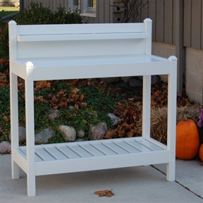 White PVC Vinyl Potting Bench Outdoor Garden Bakers Rack, DTVGW1516 :  A smart and stylish potting bench that could beautifully pull double-duty as an outdoor baker's rack. This White PVC Vinyl Potting Bench Outdoor Garden Bakers Rack is crafted of maintenance-free, UV-treated PVC vinyl in fresh white that would dress up any patio. It has a spacious working surface, slatted, easy-draining lower shelf, and smaller upper shelf. It won't fade, yellow, or warp, and is backed by a 20-year manufacturer's warranty. The work surface easily lifts off so you can take your potting plants to their location or use it as a serving tray. Bottom and top shelves, removable table top; Easy to assemble with simple instructions.