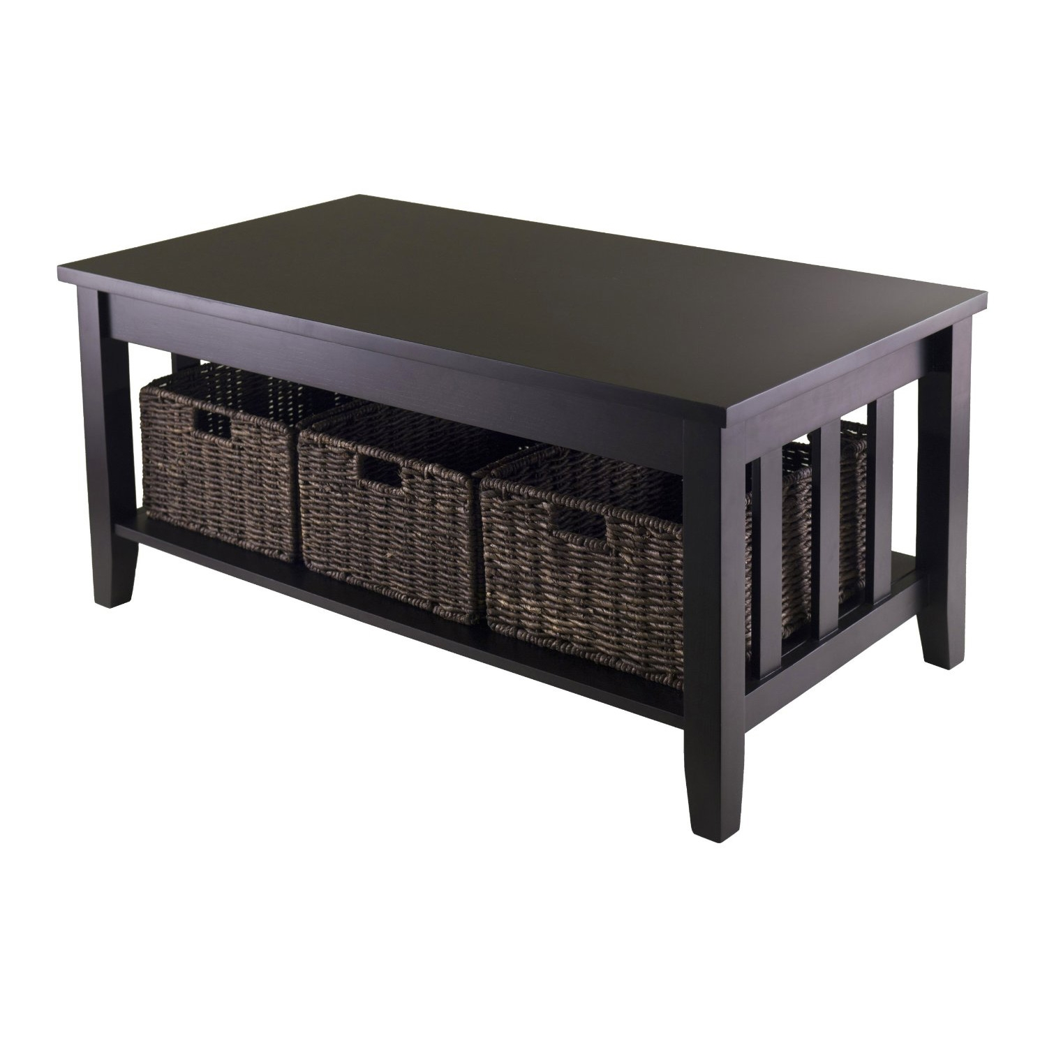 This Mission Style Dark Wood Coffee Table with 3-Folding Storage Baskets is a perfect table with plenty of storage. Coffee Table is 40-Inch Width by 22.05-Inch Depth by 18.11-Inch Height with 1 section with opening of 35.28-Inch Width by 20.47-Inch Depth by 9.84-Inch Height. Table comes with three foldable baskets made from Corn Hask, size 16-Inch Width by 11-Inch Depth by 7-Inch Height. Table made from solid and composite wood. Assembly Required.
