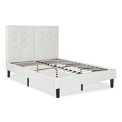 This King size Light Gray Off White Faux Leather Upholstered Platform Bed with Headboard with good cared faux leather is better than classic- this is designed to infuse new trendy style in your room and makes your room chic. Built with sturdy wooden slat and strong metal leg for extra center support, this platform bed frame does not need box spring. 42 Inch height headboard, support your deluxe mattress higher header board; Low profile footboard ensures sturdy mattress support. Smartly shipped: foldable headboard shipped in a box conveniently.
