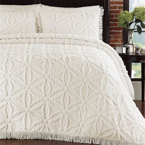 Bring elegance to your bedroom with this 100% cotton, chenille bedspread and matching sham set. This Queen Cotton Chenille Bedspread with Flower of Life Pattern and Fringe Edge in Ivory has a circle of flowers design with fringed hem finish.