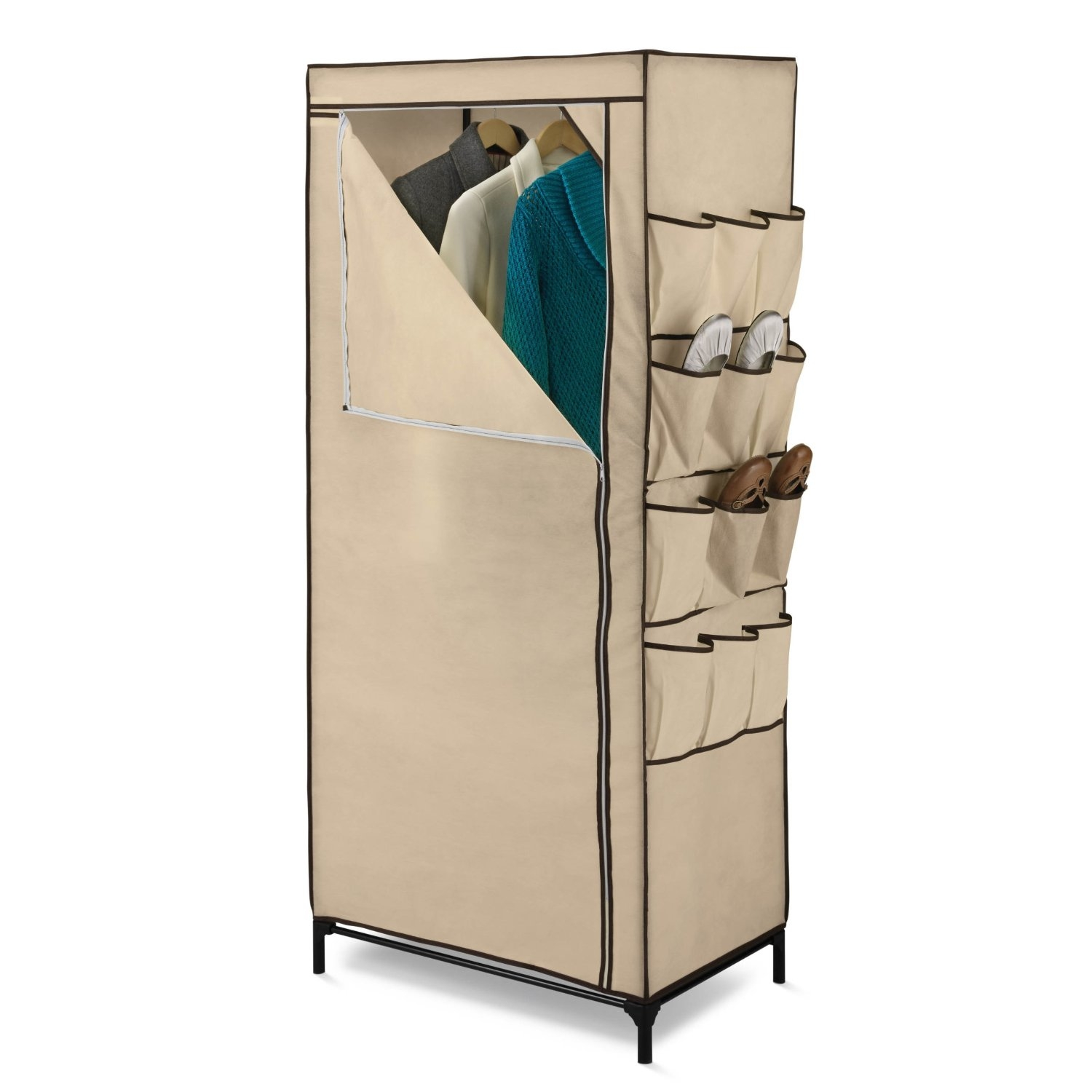 This Tan 27-inch Portable Storage Closet Wardrobe with Shoe Organizer comes equipped with nine large storage pockets on the side for accessories, shoes and other items. The non-woven fabric cover protects all of your garments on the inside. Store your garments with ease during the off-season or when not in use.