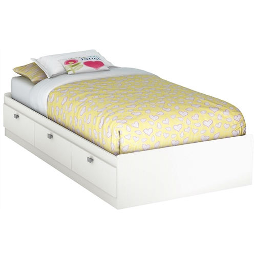 This Twin size White Platform Bed for Kids Teens Adults with 3 Storage Drawers offers you 3 under bed storage drawers providing plenty of space for clothes, blankets and toys. The satin nickel finish metal handles on bed are flat fitting for added protection. The bed is reversible; therefore drawers can be put on either side of the bed. It fits twin size mattress and box spring is not required. Interior drawer dimensions: 22-1/2-inch wide by 17-1/4-inch front to back. Its weight capacity is 250 pounds. Also available in Pure Black or Chocolate finishes. The glides are made of plastic and include dampers and catches. Measures 76-1/4-inch wide by 40-1/4-inch deep by 13-3/4-inch high. It is delivered in one box measuring 86-1/2-inch by 22-inch by 5-1/4-inch and weights 110 pounds. Manufactured from certified Environmentally Preferred laminated particle panels. Complete assembly required by 2 adults with minimal skills. Tools are not included. 5-year limited warranty. Made in Canada.