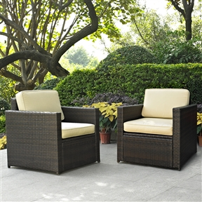 2-Piece All-Weather Outdoor Wicker Resin Arm Chair Set with Cushions, C2PFS37315 :  Lounge around on this 2-Piece All-Weather Outdoor Wicker Resin Arm Chair Set with Cushions. Finely crafted with intricately woven wicker over durable aluminum frames, these timeless pieces provides lasting comfort and style. Let your worries fade away as you doze off in our UV/fade resistant cushions. Use a soft clean cloth that will not scratch the surface when dusting. Use of furniture polish is not necessary. Should you choose to use a furniture polish, test in an inconspicuous area first. Use of solvents of any kind could damage your furniture's finish. To clean, simply use a soft cloth moistened with lukewarm water, then buff with a dry soft clean cloth.  Set includes two arm chairs; Detachable Cushion: Yes; Water resistant; Assembly Required: Yes; Product Warranty: 3 Month limited; Frame Material: Aluminum; Woven Material: Resin wicker; Woven: Yes; Upholstery Material: Sunbrella; Individual Chair Weight Capacity: 250lbs.  Chair Arm Width - Side to Side: 3.5 Inches; Chair Arm Height - Top to Bottom: 26 Inches; Seat Cushion Depth: 26.5 Inches; Seat Cushion Width: 23.5 Inches; Seat Cushion Thickness: 5 Inches.
