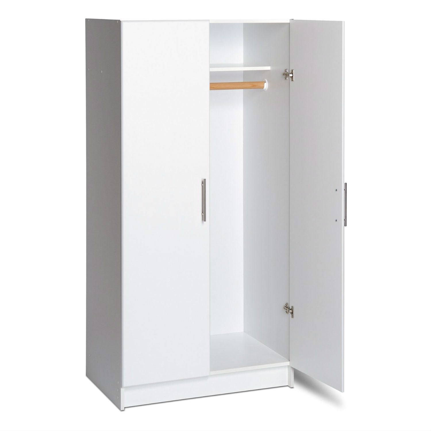 "This White 2-Door Wardrobe Cabinet with Hanging Rail and Storage Shelf includes one hanging rail for clothes as well as a fixed top shelf for hats and other small items. Use alone or add the optional 32"" Topper for 89"" high storage. It's quality features include distinctive Soft Edged Doors, Designer Hardware, Attractive Finishes and European Style Hinges."