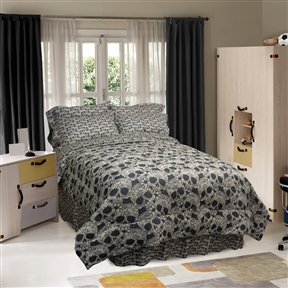 This Twin size 3-Piece Comforter Set with Black Tan Flower Skulls Design is wildly up to date, giving your bedroom an edgy look. This bedding features an all over printed skulls with the flower detailing which softens the look. The fabric is ultra soft brushed micro fiber and it is created with a heat transfer technique. Reverse Side Material: Polyester; Fade Resistant: Yes; Hypoallergenic: Yes; Lint Free: Yes; Non-Pilling: Yes; Wrinkle Resistant: Yes; Non-Toxic: Yes; Duvet or Comforter Material: Polyester; Duvet or Comforter Fill Material: Polyester/Polyfill; Duvet or Comforter Pattern: Nature/Floral. Dust Ruffle/Bed Skirt Included: Yes; Gender: Unisex; Life Stage: Kid; Teen. Ply Count: One-Ply; Fabric Weight: 75 Grams per Square Meter (GSM) [Fabric Weight]; Technique: Woven; Drying Method: Tumble dry; Machine washable.
