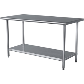This Stainless Steel Top Utility Table High Top Workbench Prep Table would be a great addition to your home. It has curved edges for safety and is made of stainless steel material. Finish: Gray; Top Material: Metal; Frame Material: Metal; Shelves Included: Yes; Weight Capacity: 250lbs. Country of Manufacture: China