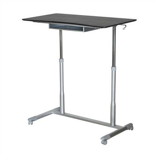 This Espresso Adjustable Height Sitting Standing Desk Ergonomic Mobile Stand Up Computer Table has a large surface to work, play or read upon. Simply place the desk next to your office chair or sofa to work comfortably either sitting or standing. This desk comes with a handy wire storage shelf fixed to the underside of the desktop that can store your items when they are not needed. Sit or stand anywhere you would like with this sit up desk. Great for a dorm room, bedroom, office, living room or anywhere you need a versatile desk.
