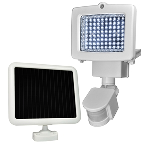 Weatherproof 80-LED Solar Powered Motion Sensor Light, SMDL4651548 :  Use the power of the sun to light dark areas and add extra security with this Weatherproof 80-LED Solar Powered Motion Sensor Light. This light automatically turns on when motion is detected, making it the perfect solar security solution. This security light comes equipped with 80 super-bright white LEDs in durable metal housing. The 1-watt, 6-volt amorphous solar panel charges 1 x AA 5-Pack Ni-MH 6V 900mAh of rechargeable batteries, ensuring reliable lighting power for whenever, wherever you need it. The panel is weatherproof and charges even in low sun conditions; Lumen output: 900; No main power or wiring required; Detection distance: 30 feet, detection range: 180 degrees.