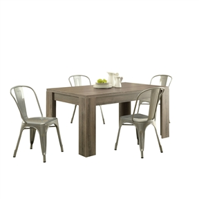 This Modern Block Leg Rectangular Dining Table in Dark Taupe Wood Finish is beautifully designed with a reclaimed. Featuring sturdy open block legs, this bold rectangular piece will make a statement in any home. Distressed: No; Top Material: Wood; Base Material: Manufactured wood; Formal or Casual Setting: Formal; Style: Contemporary; Table Base Type: Four leg; Table Shape: Rectangular; Country of Manufacture: Taiwan, Province of China.