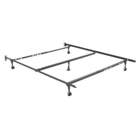 "Full/Queen Value Metal Bed Frame: Product Code: L_70-60-5RS : The value metal bed frame is adjustable and works great with standard size full, full XL, and queen mattress and boxspring/foundation sets. This bed frame has five legs; four carpet rollers, with center support glide leg. Riveted headboard brackets fit virtually all headboards. Price includes the complete bed frame, carpet rollers, center support with glide leg.  1-1/4"" x 1-1/14"" x 63"" Side rails; The bed frame is adjustable and works with size full, full XL, and queen size mattress and boxspring/foundation sets. No tools required, easy snap together design. Single carton pack; Headboard Brackets fits virtually all headboards; Locking Legs create a trip-thick steel layer at the corners; recessed for safety (prevents ankle injuries); 1-3/4"" Carpet Rollers (also called Rug Savers) provide easy mobility for this bed frame; Keyslot Crossarms; 1 Year Manufacturer's Warranty; FREE SHIPPING: - Ships out in 2-3 days via UPS. Free Shipping in the contiguous United States. Made out of 95% recycled steel."