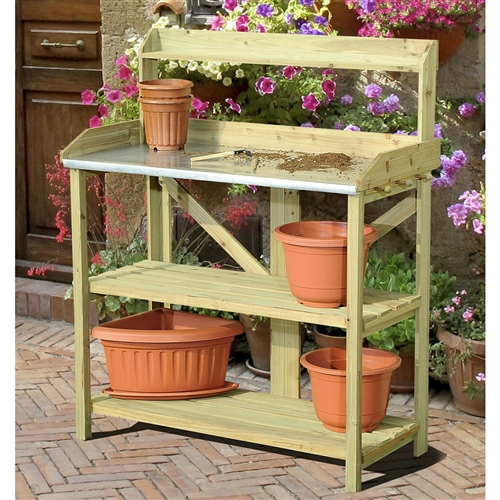 Wood Potting Bench with Metal Table Top with Garden Tool Storage Pegs, MPB56181486 :  If you enjoy gardening and growing your own beautiful plants then consider adding this Wood Potting Bench with Metal Table Top with Garden Tool Storage Pegs to your garden to make the most out of your time spent tending to your plants. A large shelf provides a great space to work with your plants, helping to bring gardening up to a more comfortable level and getting rid of the difficulty of having to bend and strain to tend to your plants at ground level. Built in pegs on the side of the table serve as great areas to hang up gardening tools, gloves, or other items that you use when satisfying your green thumb. Additional levels of storage beneath can hold all your gardening tools and supplies, keeping everything you need to grow gorgeous plants in one place. All wood construction; Built in pegs on side are great for hanging gardening tools; Country of Manufacture: China.