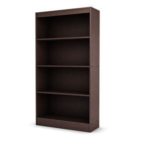 "With both functional and attractive this 4 Shelf Bookcase in Dark Chocolate Finish is sure to enhance the look of any room in your home. Its warm finish and refined lines harmonize seamlessly with virtually any decor. Ideal for your binders, books or decorative items; This versatile bookcase can meet your every need; Shrink wrapped packaging with reinforced corners to reduce the risk of shipping damage; Features a contemporary style; Features 2 fixed shelves and 2 adjustable shelves; South Shore Industries Ltd. provides the original buyer with a warranty covering ""defects"" on furniture parts and workmanship for a period of 5 years from the date of purchase; Assembly required."
