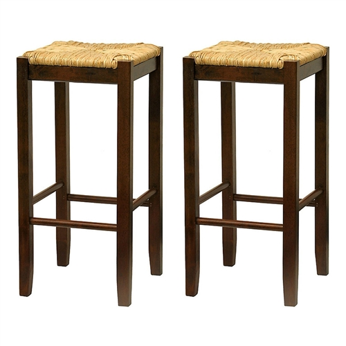 This Set of 2- Solid Wood Bar Stool in Walnut with Wiveb Rush Seat would be a great addition to your home. It has a solid wood construction; designed in the USA, produced in Thailand of natural hardwood. Ships ready to assemble with all hardware and tools included. This new style seat is comfortable and sleek.