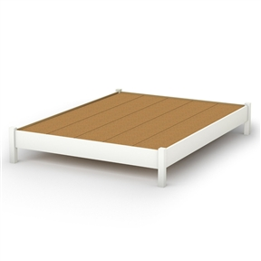 This simple but practical Queen-size Platform Bed in Pure White Finish is great value for your money, as it does not require a box spring. In addition, the decorative legs will give your bedroom a stylish touch. It can be combined with all South Shore's collections available in Pure White finish. It is designed to support a maximum weight of 500-pound. It is also available in Pure Black, Natural Maple, Ebony or Chocolate finish.Made of non-toxic recycled CARB2 compliant laminated particle panels. Complete assembly required by 2 adults. Tools are not included. Made in Canada.