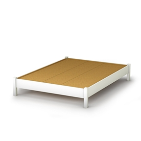 This Full-size Simple Platform Bed in White Finish - Modern Design is great value for your money, as it does not require a box spring. In addition, the decorative legs will give your bedroom a stylish touch. It can be combined with all South Shore's collections available in Pure White finish. It is designed to support a maximum weight of 500-pound. It is also available in Pure Black, Natural Maple, Ebony or Chocolate finish. It measures 78-1/2-inch long by 58-1/4-inch wide by 13-1/2-inch high. It is delivered in a box measuring 88-inch by 23-inch by 5-1/2-inch and weighing 121-pound. Made of non-toxic recycled CARB2 compliant laminated particle panels. Complete assembly required by 2 adults. Tools are not included. Made in Canada.