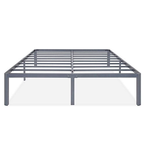 This King Heavy Duty Grey Metal Platform Bed Frame with Round Edges gives your bed a modern look with sufficient space for under bed storage. Constructed with sturdy steel slats can support any type of mattress. Round edge legs prevents you and your family members from bumping into the edges. This heavy duty steel slat foundation effortlessly extend your mattress's life span and prevent sagging. Modern Grey color always matches perfect with any bed room design and home decor. Easy assembly and smartly shipped in a box. 14 inches of space underneath the frame for storage; No box spring needed & supports all types of mattresses.