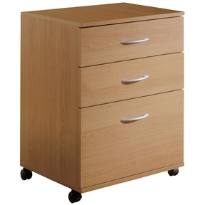 This Contemporary 3-Drawer Mobile Filing Cabinet in Natural Maple Finish features 2 catch-all drawers and 1 filing drawer, all on metal slides. The filing drawer accommodates legal size files and the cabinet is mounted on casters for ease of use and mobility. Mobile Files are available in 4 different finishes - Natural Maple, Black, Cappuccino and Truffle - and 2 models with either 2 or 3 drawers.