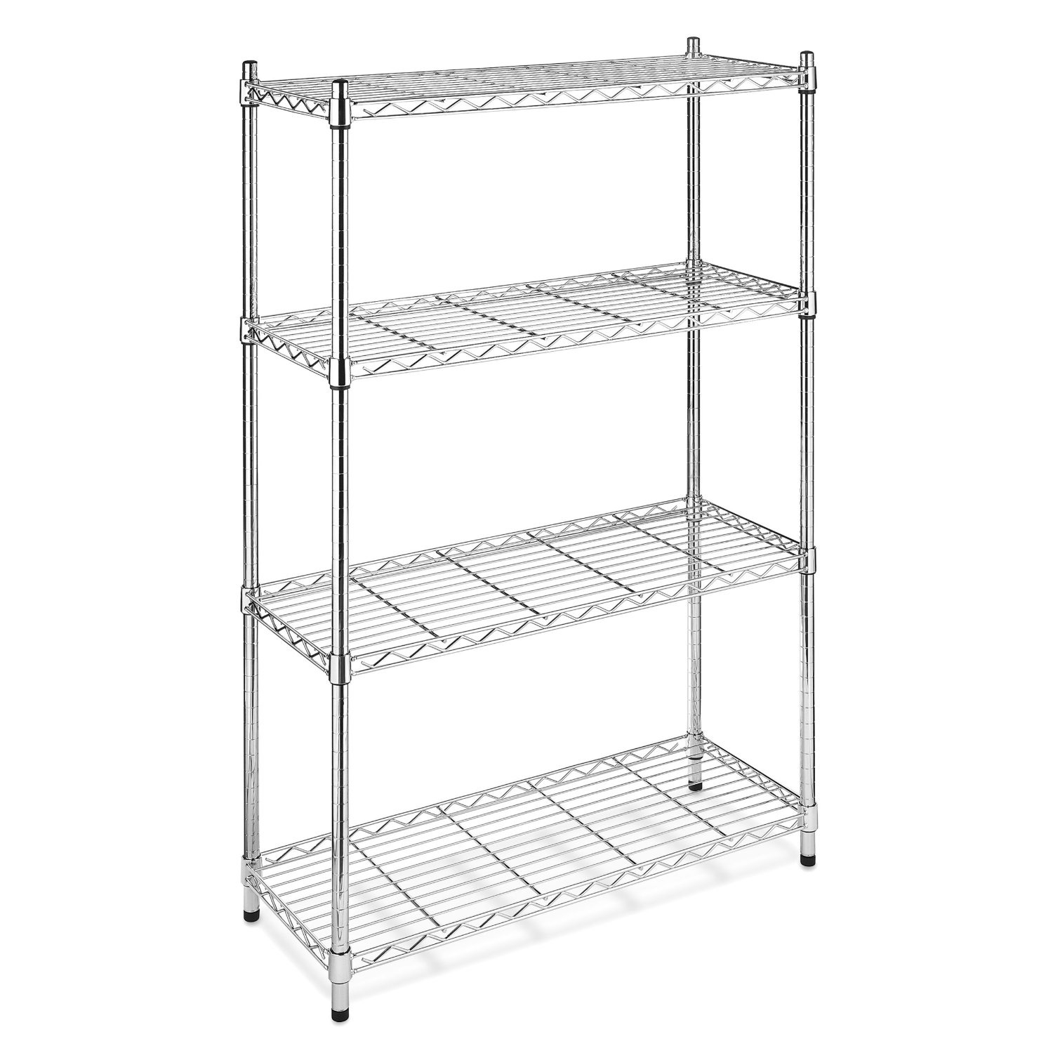 4-Shelf Steel Storage Shelves in Chrome, WS4TSY6824 :  This 4-Shelf Steel Storage Shelves in Chrome features chrome, ventilated shelves that adjust at one Inch increments. Shelves will hold 350-Pounds, it is great for office, garage, entertainment, kitchen. Unit measures 14-Inch by 36-Inch by 54-Inch. Each shelf holds up to 350 pounds (evenly distributed); Wire shelves adjustable in 1-inch increments; No tools required; 10-year limited warranty.
