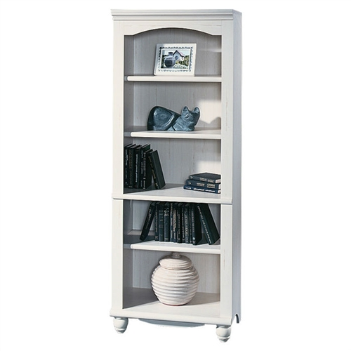 This Elegant Display Shelf Bookcase with 5 Shelves in Antiqued White Wood Finish is a graceful bookcase that has an elegant design that adds charm to your interior decor. This bookcase has open shelves with ample storage space that you can use to store and arrange your favorite books. It has been designed to fit rooms with cottage-look interior. This Elegant Display Shelf Bookcase with 5 Shelves in Antiqued White Wood Finish is made of manufactured wood that makes it a sturdy and durable bookcase. It has five open shelves that have plenty of space to keep your precious books in an organized manner. This bookcase has three adjustable shelves that can be removed and positioned according to your requirement. The weight holding capacity of fixed shelves is 35 pounds each and that of adjustable shelves is 25 pounds each. The bottom shelf can hold a weight of up to 40 pounds. This bookcase has an eclectic design with a distressed antiqued white finish that enhances the charming interior of your living room or library. It has four well-turned feet that provide stability. This tall bookcase has a closed back panel that makes it easy for you to place against a wall of any of your rooms.