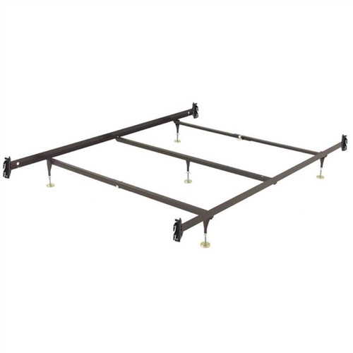 This Queen size Metal Bed Frame with Hook-On Headboard Footboard Brackets has Versatile Glide Equipped leg height, adjustable from 6.5-inch to 9-inches. C-Clamps make assembly easy and are infinitely adjustable. This frame has a Center Support System for extra support and stability. The Center Support system consists of one Center Rail with one adjustable glide equipped leg. Many mattress manufacturers require center support for queen sizes and above in order for their warranty requirements to be met. Sturdy Construction is also featured on these bed frames. The Hook-on Headboard / Footboard brackets are of heavy-duty, riveted construction. Locking legs create a triple-thick steel layer at the corners. Legs are recessed for safety. The glides are adjustable for variable bed heights.