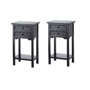 "This Set of 2 Nightstand Side Tables / End Table in Black Finish Pine Wood is tastefully finished so that the pine wood's natural grain is still visible through the black stain. Measures 15 3/4"" x 11 5/8"" x 27 1/3"" high."