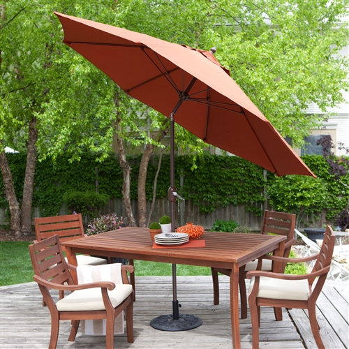 9-Ft Push Button Tilt Patio Umbrella with Rust Red Orange Shade and Bronze Finish Pole, CPBU165141 :  Protect your family from the harsh rays of the sun by adding this 9-Ft Push Button Tilt Patio Umbrella with Rust Red Orange Shade and Bronze Finish Pole to your patio furniture set. This 9-foot tilt umbrella provides shade for a 54-inch table. Purchase an umbrella stand and you can also use this versatile accessory to shade two chairs and a side table. The umbrella is constructed to withstand windy weather conditions, with an aluminum pole and wind-resistant fiberglass ribs that will ensure your umbrella won't collapse. It is available in a variety of vibrant colors to match any patio furniture design.  Features a crank lift and 3-way push-button tilt; Suggested stand for this umbrella is 1.5 inches; Commercial Grade Yes; Fabric Type Spun Poly;  Number of Ribs 8; Pole Material Aluminum; Tilt Push Button; Umbrella Shape Round; Warranty Manufacturer Warranty Included.
