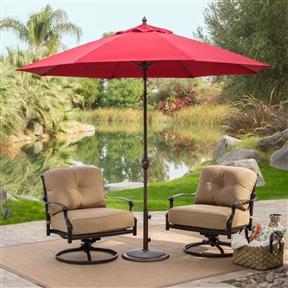 Sunbrella 9-Ft Patio Umbrella with Deluxe Tilt in Antique Bronze with Red Shade, SMU69581841 :  Control your exposure to the sun by accessorizing your outdoor furniture with this Sunbrella 9-Ft Patio Umbrella with Deluxe Tilt in Antique Bronze with Red Shade. This 9-foot umbrella is large enough to shade one or more individual chairs or a set of table and chairs. It features a crank that can raise, lower, or tilt the umbrella as the sun moves across the sky. A flexible, fiberglass frame supports the canopy, so the fabric won't collapse on windy days. This functional umbrella comes in a variety of colors to match any patio furniture design. Flexible fiberglass ribs won't crack or snap; Crank lift with auto tilt feature; Commercial Grade No; Fabric Type Sunbrella; International Shipping Canada; Number of Ribs 8; Pole Material Aluminum; Tilt Auto; Umbrella Shape Round; Warranty Manufacturer Warranty Included.