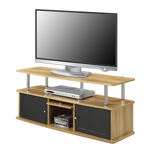 Modern styling is the essence of this Modern 50-inch TV Stand in Light Oak / Black Wood Finish with 3 Cabinets. The product includes easy and simple set up. The item contain 2 Feature Black Opaque Plastic Doors and features a Solid Cherry Wood Door. The product has a beautiful wood grain finish and contemporary design.