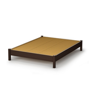This Full size Contemporary Platform Bed in Chocolate Finish is great value for your money, as it does not require a box spring. In addition, the decorative legs will give your bedroom a stylish touch. It can be combined with all South Shore's collections available in Chocolate finish. It is designed to support a maximum weight of 500-pound. It is also available in Natural Maple, Pure White, Ebony or Pure Black finish. It measures 78-1/2-inch long by 58-1/4-inch wide by 13-1/2-inch high. It is delivered in a box measuring 88-inch by 23-inch by 5-1/2-inch and weighing 121-pound. Made of recycled CARB2 compliant laminated particle panels. Complete assembly required by 2 adults. Tools are not included. Made in Canada.